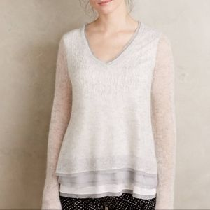 Knitted & Knotted Chiffon Hem Pullover Sweater